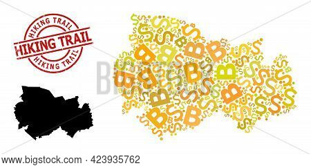 Textured Hiking Trail Stamp, And Finance Collage Map Of Novosibirsk Region. Red Round Stamp Has Hiki