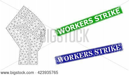 Network Fist Model, And Workers Strike Blue And Green Rectangle Rubber Stamp Seals. Polygonal Carcas