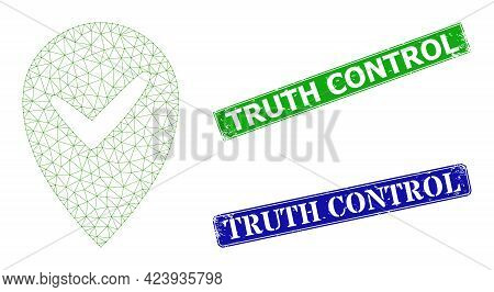 Mesh Valid Place Image, And Truth Control Blue And Green Rectangle Grunge Seal Prints. Polygonal Wir