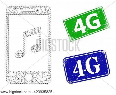 Polygonal Smartphone Music Model, And 4g Blue And Green Rectangular Grunge Seals. Polygonal Wirefram
