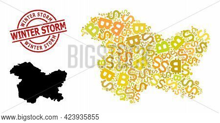 Textured Winter Storm Stamp Seal, And Finance Mosaic Map Of Jammu And Kashmir State. Red Round Stamp