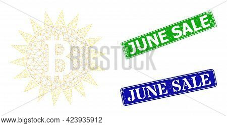 Network Bitcoin Shine Image, And June Sale Blue And Green Rectangle Textured Seals. Polygonal Carcas