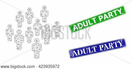 Mesh People Crowd Image, And Adult Party Blue And Green Rectangular Rubber Seals. Mesh Wireframe Ill