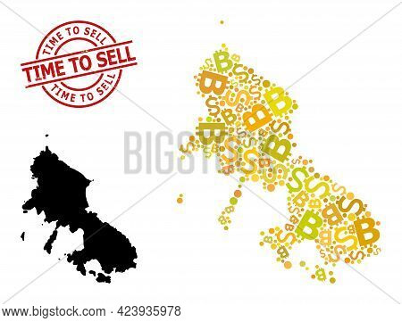 Rubber Time To Sell Stamp, And Banking Collage Map Of Skyros Island. Red Round Stamp Seal Contains T