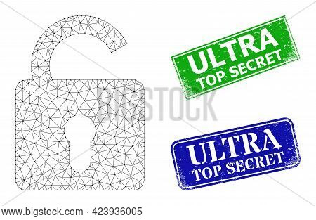 Polygonal Unlock Image, And Ultra Top Secret Blue And Green Rectangle Scratched Seal Imitations. Pol