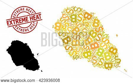Rubber Extreme Heat Seal, And Currency Mosaic Map Of Graciosa Island. Red Round Stamp Seal Has Extre