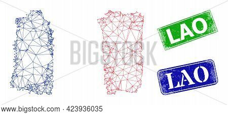 Mesh France Flag Model, And Lao Blue And Green Rectangle Rubber Stamp Seals. Polygonal Wireframe Sym