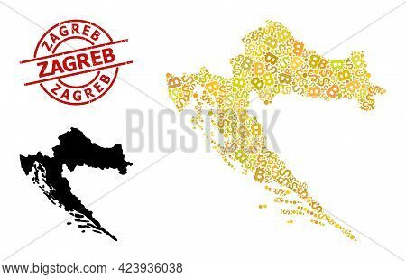 Textured Zagreb Stamp, And Financial Mosaic Map Of Croatia. Red Round Stamp Contains Zagreb Tag Insi