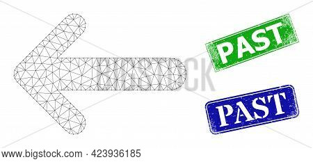 Polygonal Arrow Left Image, And Past Blue And Green Rectangle Grunge Seal Prints. Polygonal Carcass