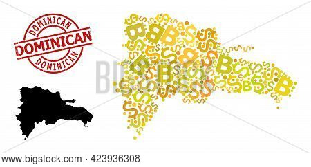 Rubber Dominican Stamp Seal, And Financial Collage Map Of Dominican Republic. Red Round Stamp Seal C