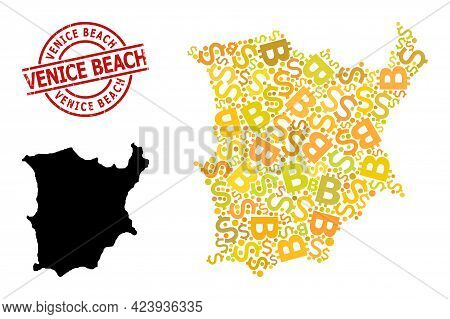 Textured Venice Beach Stamp Seal, And Financial Mosaic Map Of Koh Samui. Red Round Stamp Seal Contai