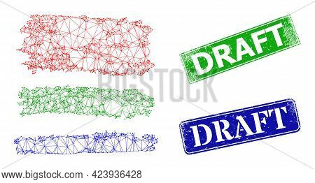 Polygonal Colored Charcoal Texture Stripes Model, And Draft Blue And Green Rectangular Scratched Sta