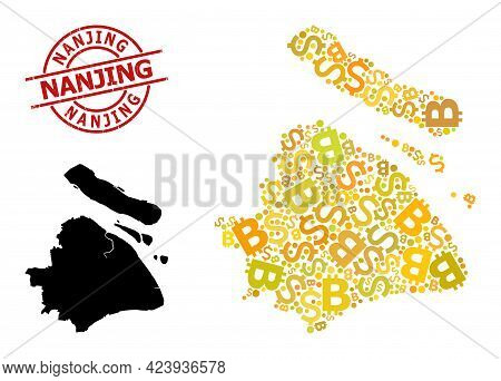 Rubber Nanjing Stamp Seal, And Banking Mosaic Map Of Shanghai Municipality. Red Round Stamp Seal Inc