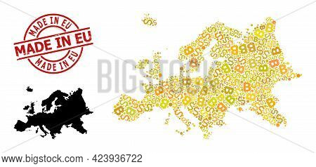 Scratched Made In Eu Stamp Seal, And Bank Mosaic Map Of Europe. Red Round Stamp Contains Made In Eu