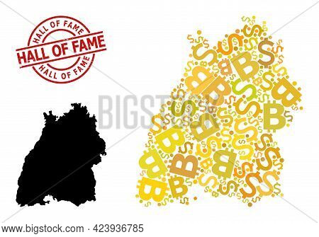 Grunge Hall Of Fame Seal, And Money Collage Map Of Baden-wurttemberg State. Red Round Seal Includes