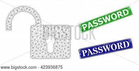 Mesh Open Lock Image, And Password Blue And Green Rectangular Textured Stamp Seals. Mesh Wireframe S