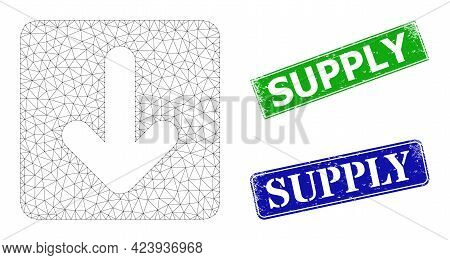 Mesh Down Cursor Image, And Supply Blue And Green Rectangle Grunge Stamp Seals. Mesh Wireframe Image