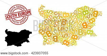 Distress South Europe Badge, And Currency Mosaic Map Of Bulgaria. Red Round Stamp Contains South Eur