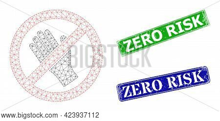 Polygonal Do Not Touch Model, And Zero Risk Blue And Green Rectangular Dirty Stamp Seals. Polygonal