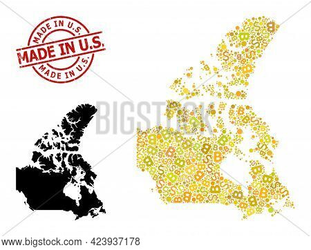 Textured Made In U.s. Stamp Seal, And Money Collage Map Of Canada. Red Round Stamp Seal Has Made In