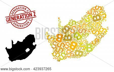 Distress Generation Z Seal, And Banking Mosaic Map Of South African Republic. Red Round Stamp Seal C