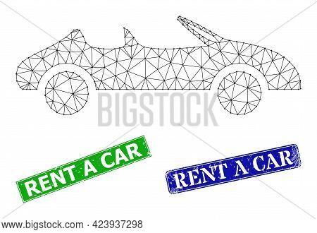Triangular Cabriolet Car Model, And Rent A Car Blue And Green Rectangular Grunge Stamp Seals. Polygo