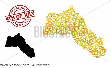Textured 4th Of July Stamp Seal, And Bank Collage Map Of Kurdistan. Red Round Stamp Seal Has 4th Of