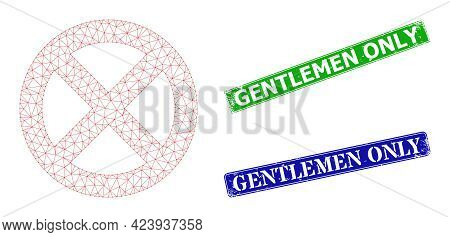 Network Restrict Image, And Gentlemen Only Blue And Green Rectangle Corroded Stamp Seals. Polygonal