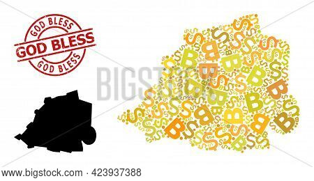 Rubber God Bless Stamp Seal, And Finance Mosaic Map Of Vatican. Red Round Stamp Seal Includes God Bl