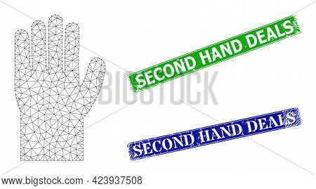 Mesh Hand Image, And Second Hand Deals Blue And Green Rectangle Dirty Stamp Seals. Mesh Carcass Illu