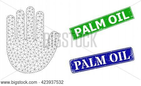 Triangular Hand Palm Image, And Palm Oil Blue And Green Rectangle Unclean Stamp Seals. Mesh Carcass