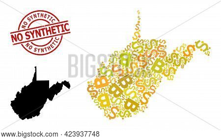 Textured No Synthetic Stamp Seal, And Finance Mosaic Map Of West Virginia State. Red Round Stamp Sea