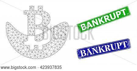 Polygonal Melting Bitcoin Image, And Bankrupt Blue And Green Rectangular Textured Seals. Polygonal C
