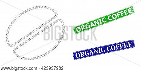 Triangular Cacao Bean Image, And Organic Coffee Blue And Green Rectangular Grunge Badges. Polygonal