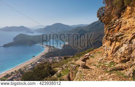 Lycian Way Overlooking The Blue Oludeniz Lagoon In Turkey