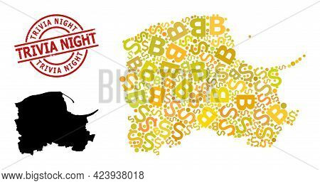 Scratched Trivia Night Stamp Seal, And Bank Mosaic Map Of Pomerania Province. Red Round Stamp Seal I