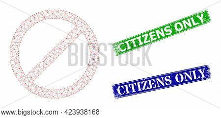 Polygonal Forbid Image, And Citizens Only Blue And Green Rectangular Textured Stamp Seals. Mesh Carc