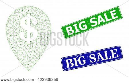 Polygonal Bank Map Marker Model, And Big Sale Blue And Green Rectangle Unclean Seals. Mesh Wireframe