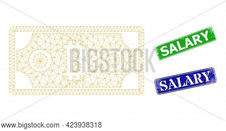 Net Bitcoin Bill Image, And Salary Blue And Green Rectangular Unclean Badges. Mesh Carcass Image Is
