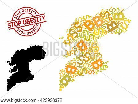Grunge Stop Obesity Stamp, And Finance Collage Map Of Pontevedra Province. Red Round Stamp Seal Cont