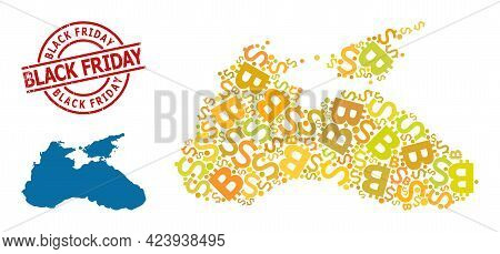 Rubber Black Friday Stamp, And Currency Mosaic Map Of Black Sea. Red Round Stamp Seal Contains Black
