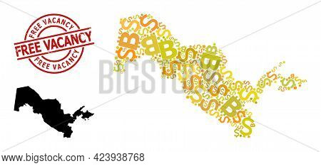 Scratched Free Vacancy Stamp, And Finance Mosaic Map Of Uzbekistan. Red Round Stamp Has Free Vacancy