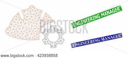 Polygonal Engineering Model, And Engineering Manager Blue And Green Rectangular Corroded Seals. Poly