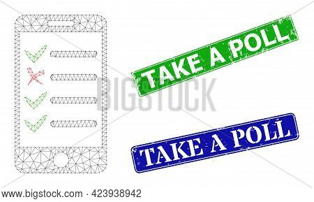 Mesh Mobile Check List Model, And Take A Poll Blue And Green Rectangular Dirty Stamp Seals. Mesh Car