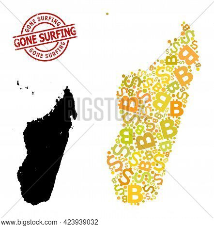 Grunge Gone Surfing Seal, And Finance Mosaic Map Of Madagascar Island. Red Round Seal Includes Gone