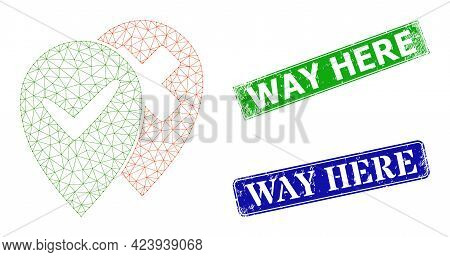 Mesh Place Advices Model, And Way Here Blue And Green Rectangular Rubber Stamp Seals. Mesh Carcass S