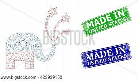 Net American Elephant Fireworks Model, And Made In United States Blue And Green Rectangular Textured