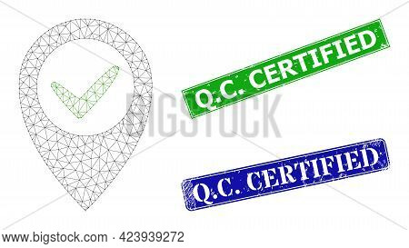 Polygonal Right Place Model, And Q.c. Certified Blue And Green Rectangle Dirty Stamps. Polygonal Car