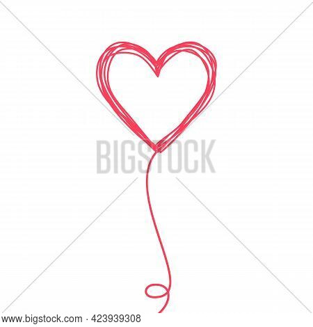 Tangled Scribbled Heart On A String Line