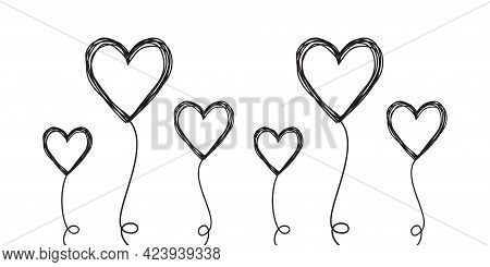 Set Of Tangled Scribbled Heart On A String